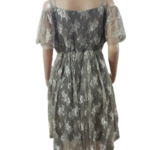 Grey Lace Cold Shoulder Gathers Dress
