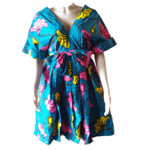 Gathered Summer Sleeve African Print Dress