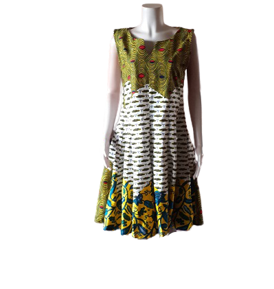 African Print Combination Dress