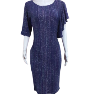 Dark Blue Different Sleeves Dress