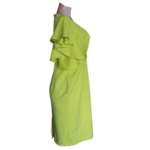 Lemon Green Overlap Dress with Flair Sleeves
