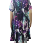 Nice Moth Round Neck Silk Dress With Net