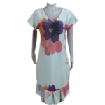 White V-Neck Scuba Dress with Beautiful Flower