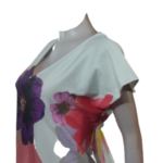 White V-Neck Scuba Dress with Beautiful Flower Patterns