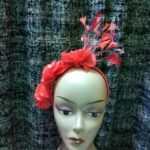 Red Handmade Flowered Fascinator