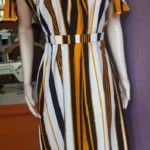 Black, White and Orange Stripped Off Shoulder Dress