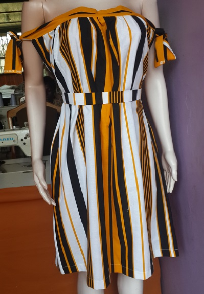 White, Black and Orange Stripped Off Shoulder Dress