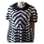 Black and White Stripped Scuba Dress with