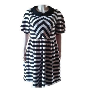 Black and White Stripped Scuba Dress with Puff Sleeves