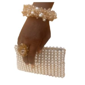 Bridal Clutch and Bracelet  Beaded Jewelry