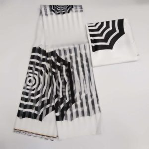 White and Black African Wax Design Satin