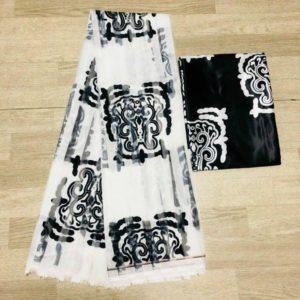 Satin and organza African Wax Design Fabric – Black and White