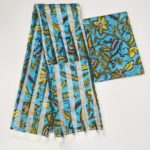 Multicoloured African Wax Design Satin and Organza Fabric
