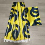 Satin and Organza African Wax Design Fabric (Yellow & Black)
