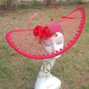 Red Transparent Fascinator