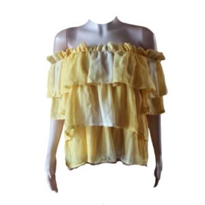 Stylish Off Shoulder Ruffles Chiffon Top