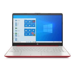HP LAPTOP 15-DW1083WM, INTEL PENTIUM GOLD PROCESSOR 6405U, 128GB SSD, NO DVD, WIN 10 HOME S MODE, 4GB DDR4 RAM, 15.6″ LED, BT, WIFI. ( PART NO : 1B9S3UA ) RED / SILVER COLOUR